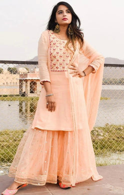 Peach Color Beautiful Collection Wardrobe Designer Embroidered Suit And Ruffle Plazo