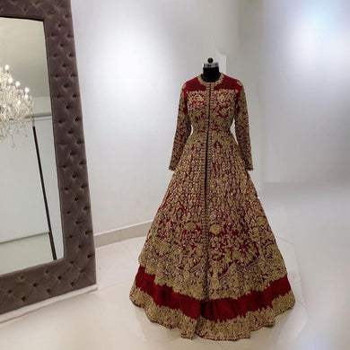 Maroon Color Beutique Heavy Embroidered Work Suit And Lehengha