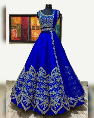 Royal Blue Color Designer Heavy Cording Embroidery Work Lehenga