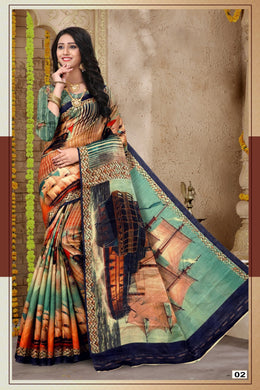 Multicolor New Trendy Latest Soft And Smooth Banglori Silk  Digital Print Saree