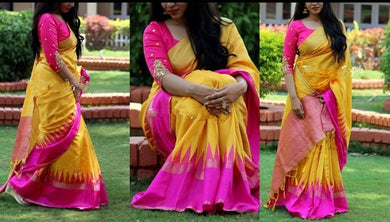 New Exclusive Launching Yellow Color Bhagalpuri Print Saree