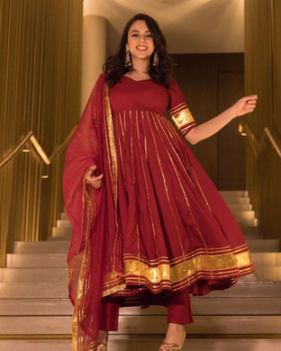 Maroon Color Designer Wear Chanderi Suit And Bottom With Net Dupatta