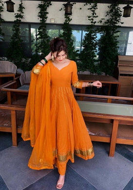 Orange Color Designer Wear Chanderi Suit And Bottom With Net Dupatta