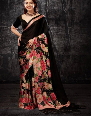 Attractive New Black Color Soft And Smooth Vishitra Silk Digital Print Saree