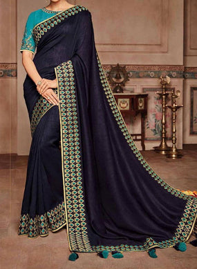 Blue Color Sana Silk Saree With Rich Zari Weaving Border Saree