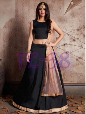 Exclusive Designer. Black Plain Lehenga With Soft Fancy Latkan With Plain Black B