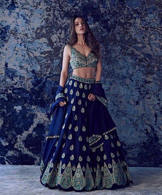 Bollywood Style Designer Blue Color Embroidery Work With Wedding Wear Lahenga Choli