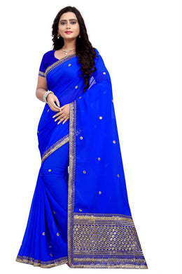Blue Color Sequence Work Georgette Material Designer Saree