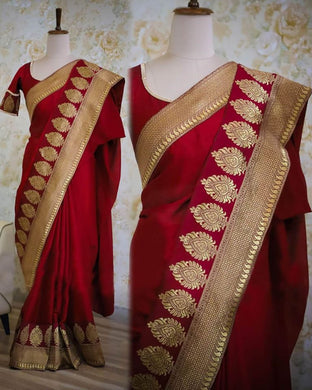 Maroon Color Rangoli Silk Material Jequrad Lace Border Saree