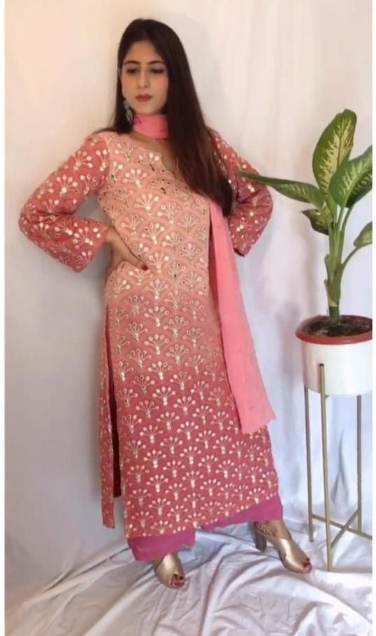 Pink Color Pedding Georgette Material Embroidary Work Plazo Suit