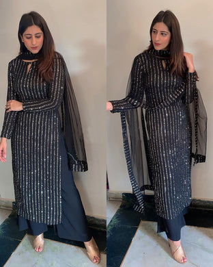 Full Sequence Work Bollywood Black Color Faux Material Plazo Suit