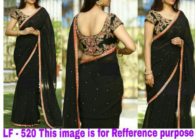 Black Color Marble Silk Stine Wrok Saree+embroidary Work Blouse