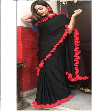 Awesome Heavy Quality Georgette Black Saree With Ribbon Border Lace