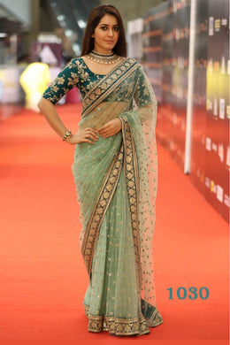 Green Color Net Material Full Embroidary Work Designer Saree