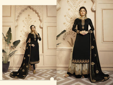 Bollywood Black Color Faux Georgette Embroidary Work Lengha Suit