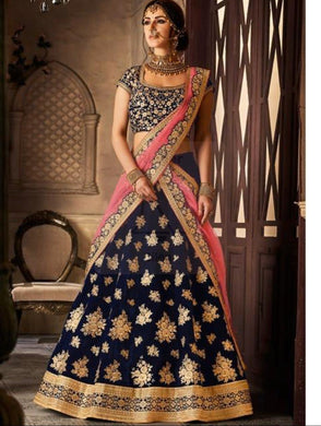 Aweosme Blue Color Velvet Material Embroidary Work Lengha Choli