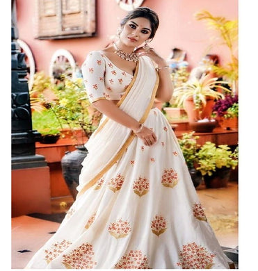 White Color Geroegtte Material Embroidary Work Lengha Choli