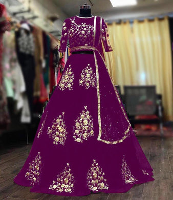 Purple Color Naylon Net Material Embroidary Work Deigner Lengha Choli