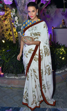 White Color Heavy Linnen Silk Saree With Digital Printed Work