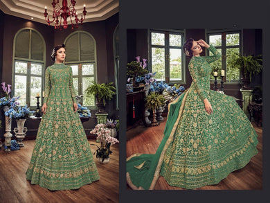 Pista Color Net Material Sequence + Coding Work Anarkali Suit
