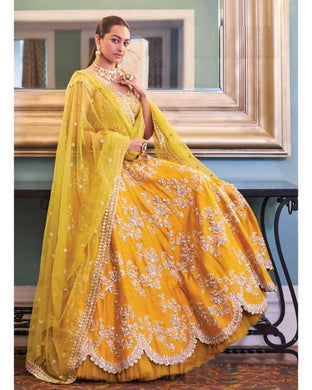 Yellow Color Premium Quality Taffeta Silk Material Embroidary Work Lengha Choli