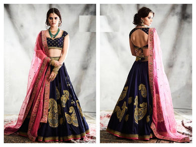 Blue Color Heavy Taffeta Silk Material Embroidary Work Lengha Choli
