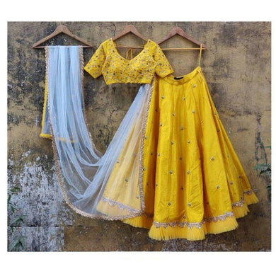 Yellow Color Freel + Embroidary Work Designer Taffeta Silk Material Lengha Choli