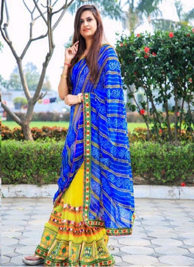 Blue Color Bandhani Print Pallu+ Yellow Embroidary Work Georgette Skirt Fancy Saree