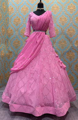 Sequence Work Pink Color Georgette Material Lengha Choli