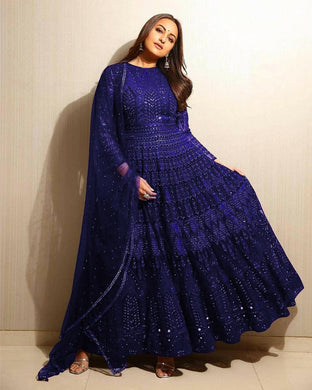Sonakshi Sinha Bollywood Blue Color Embroidary Work Anarkali Suit