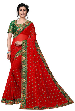 Red Color Georgette Material Embroidary Work Saree