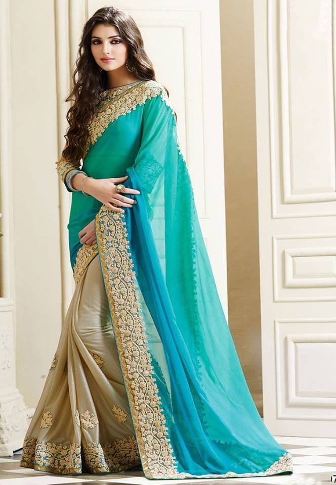 Pedding Type Firoji+blue Color Georgett+lycra Material Saree