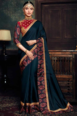 Tamanna Bhatia Blue Color Rangoli Silk Material Lace Border Saree