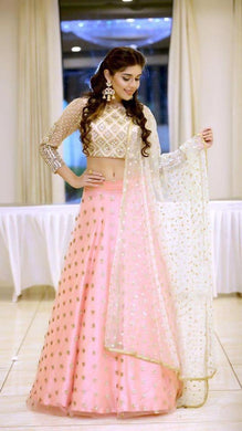 Original Mirror Work Pink Color  Soft Net Material Embroidary Work Lengha Choli