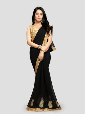 Black Sequence Designer Saree