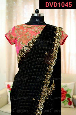 Black Color Cotton Chequs Saree With Full Stone Work Lace Border