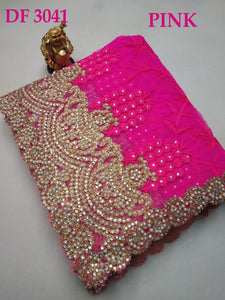Original Pearl Work+stone Work Bridal Embroidary Thread Work Net Saree