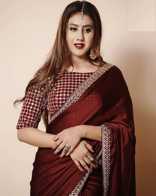 Vichitra Silk Maroon Color Embroidary Sequence+coding Work Saree
