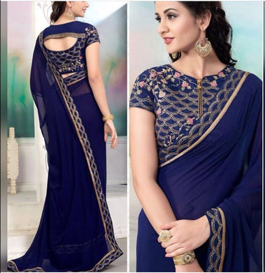 Sequence Work Blouse+lace Pure Georgette Blue Color Saree