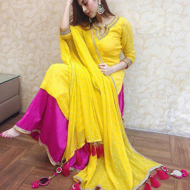 Mashine Fitting Pearl Work Yellow Color Georgette Material Suit
