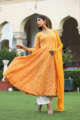 Yellow Color New Bollywood Party Wear Anarkali Style Top With Dupatta