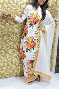 White Color Embroidery Work Sation Banglory Silk Plazzo