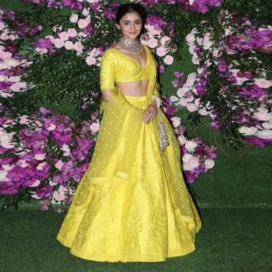 Yellow Color Bollywood Style Taffeta Silk With Cancan Lehenga