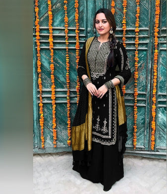Black Color Pretty Georgette (60 Gm) Salwar