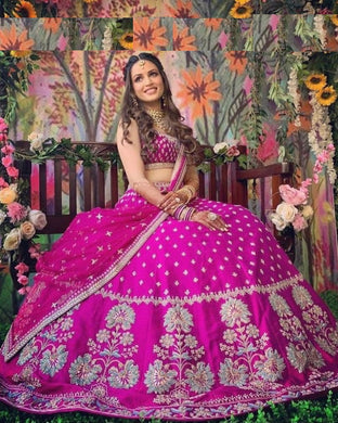 Pink Color Tapeta Silk With Heavy Embroidered Work And Canvas In Bottom Lehenga