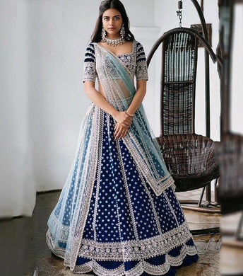 Blue Color Tapeta Silk With Heavy Embroidery Work And Canvas Patta In Bottom Lehenga