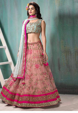 New Collection  Skyblue Colour  :print Gorget Lehenga