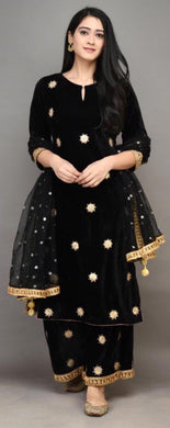 Black Color Heavy Gotta Patti Work On Velvet And Plazo With Sequence Work Dupatta Salwar