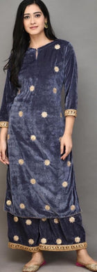Grey Color Heavy Gotta Patti Work On Velvet And Plazo With Sequence Work Dupatta Salwar
