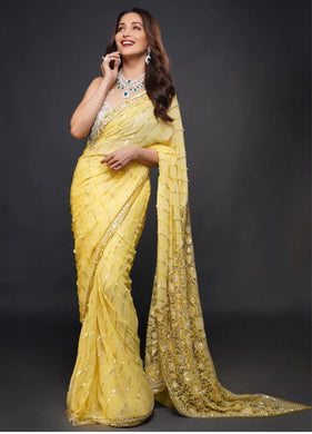 Yellow Color Bollywood Style Gorget With Emrodery Siquance Work With Less Border Saree